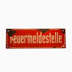 Deutsches Vintage Feuermeldestelle-Schild, 1930er