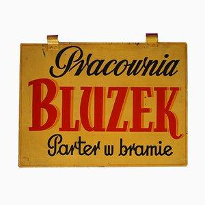 Polnisches Vintage Blusen-Workshop Werbeschild