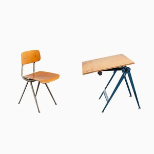 Vintage Reply Desk and Chair by Wim Rietveld and Friso Kramer for Ahrend De Cirkel