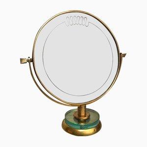 Vintage Italian Brass & Glass Vanity Mirror by Gio Ponti, 1950s