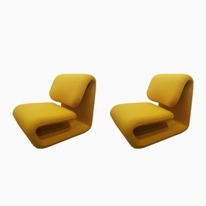 French 1500 Lounge Chairs by Etienne Henri Martin for TFM, 1970s, Set of 2