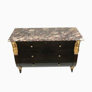 Black Lacquered Chest of Drawers with Gilded Swan Detailing and Marble Top, 1950s
