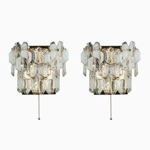 Lampade da parete in ottone e vetro di J.T. Kalmar, anni '70, set di 2