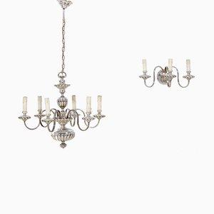 Lámpara de araña vintage y aplique de Sciolari