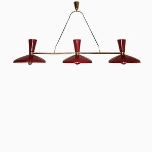 Vintage Red Enameled & Brass Ceiling Lamp from Stilnovo