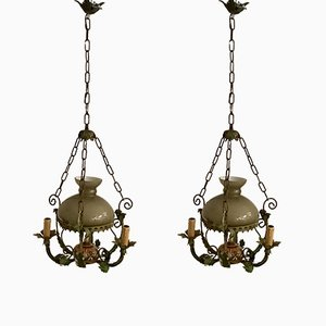 Vintage Tole & Opaline Glass Ceiling Lights, Set of 2