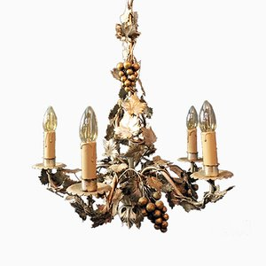 Vintage French Gilt Grape Chandelier, 1960s