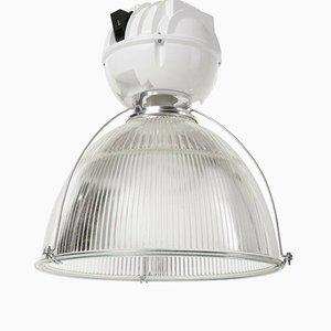 Industrielle Vintage Loft Lampe aus Glas & Metall von Holophane, 1980er