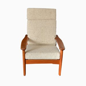 Danish Teak & Wool Highback Easy Chair from Glostrup, 1970s