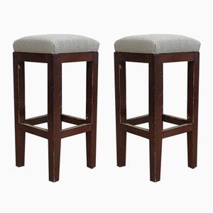 Vintage English Linen Bar Stools, 1950s, Set of 2