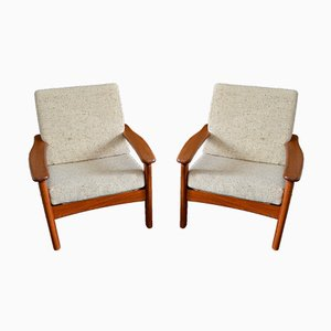 Danish Teak & Wool Lounge Chairs from Glostrup, 1970s