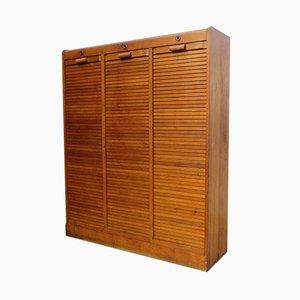 Art Deco Oak Triple Tambour Front Cabinet