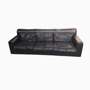 3-Sitzer Sofa aus schwarzem Leder von Knoll, 1980er