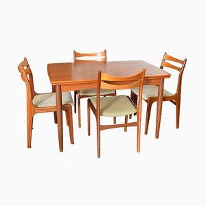 Scandinavian Teak Extendable Table & 4 Chairs, 1960s
