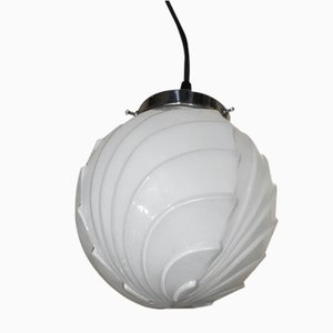 Art Deco Opaline Glass Ceiling Lamp, 1920s