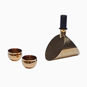 Carafe et 2 Tasses Dorées Vintage par Pierre Forssell pour Skultuna, 1976