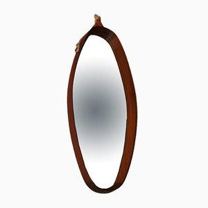Specchio vintage ovale con cornice in teak