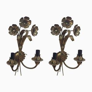 Appliques Murales Florales Dorées Vintage, Set de 2