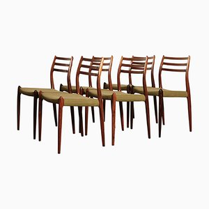 Model 78 Rosewood Dining Chairs Niels Otto Moller for J. L. Mollers, 1960s, Set of 6