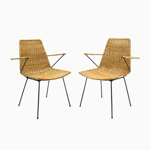 Vintage Wicker Basket Armchairs, 1960s, Set of 2