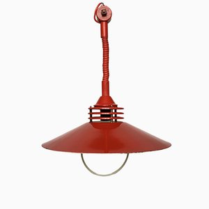 Vintage Estonian Red Metal Pendant Lamp from ZESI Nowe, 1970s