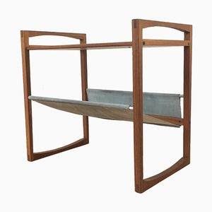 Danish Table with Suede Newspaper Rack from Sika Møbler, 1960s