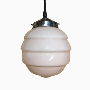 Art Deco Pink Opaline Ceiling Lamp, 1920s