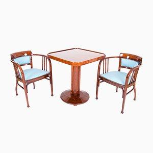 Table et 2 Fauteuils Style Sécession Viennoise par Otto Wagner pour Thonet, 1904