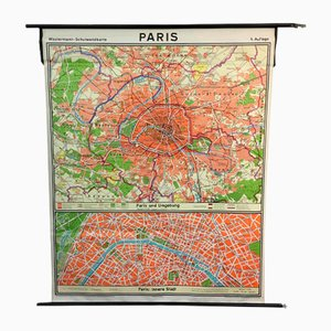 Vintage Schulkarte von Paris von Westermann, 1965