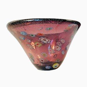 Cuenco Millefiori Mid-Century de cristal de Murano, años 70