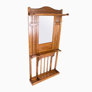 Antique Oak Hallway Rack, 1918