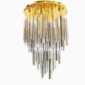 Lámpara de araña vintage de cristal de Murano de Venini, años 70