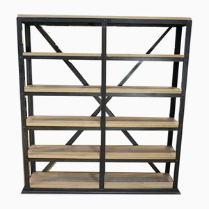 Industrial Riveted Iron 6-Tier Shelf, 1900s