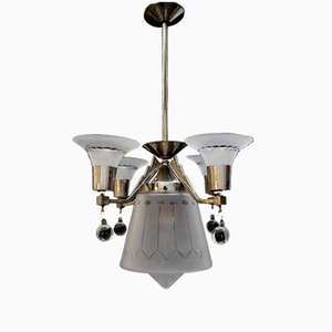 Lámpara de araña modernista antigua de Henri Petitot
