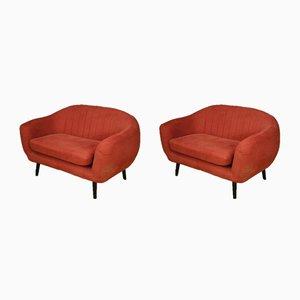 Italienische Vintage Sessel mit rotem Stoffbezug, 1980er, 2er Set