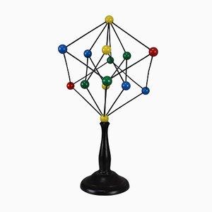 Modello molecolare scientifico Mid-Century in cristallo, anni '60