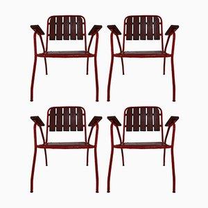 Französische Mid-Century Gartenstühle, 1970er, 4er Set