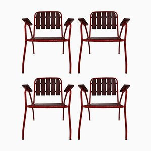 Mid-Century French Garden Chairs, 1970s, Set of 4