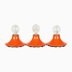 Orange Plastic Wall or Ceiling Teti Lamp by Vico Magistretti for Artemide, 1960s