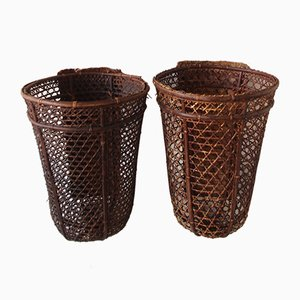 Bauhaus Rattan Flower Stands, 1960s, Set of 2