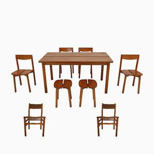 Vintage Dining Set with 1 Table, 6 Chairs & 2 Stools by Pierre Gautier Delaye, 1960s