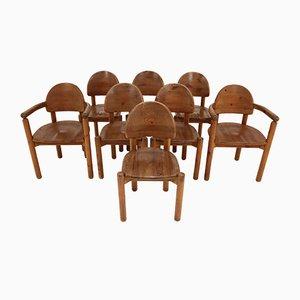 Esszimmerstühle aus Kiefernholz von Rainer Daumiller für Hirtshalls Sawmills, 1970er, 8er Set