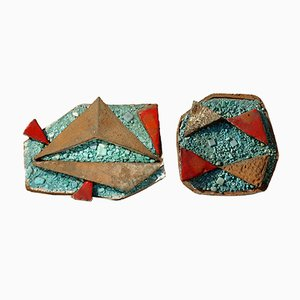 Italian Ceramic Wall Sculptures by Ugo Lucerni Florence, 1960s, Set of 2
