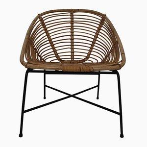 Mid-Century Stuhl mit Eisengestell & Sitz aus Rattangeflecht, 1960er