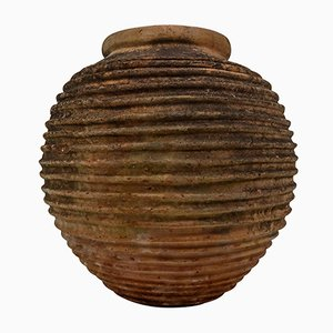 Antique The King Terracota Ribbed Olive Jar with Dark Lichen Patination