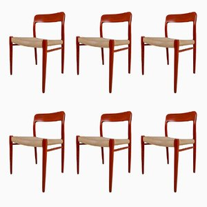 Model 75 Teak Dining Chairs by Niels Ø. Møller, 1950s, Set of 6