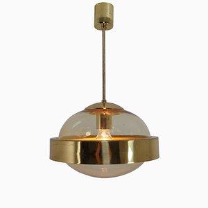 Lampada Mid-Century in ottone e vetro soffiato a mano, anni '60