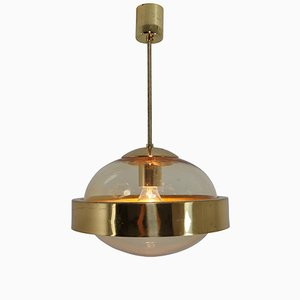 Mid-Century Brass & Hand-Blown Glass Pendant, 1960s
