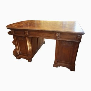 French Parquetry Writing Desk with Carved Faces, 1950s