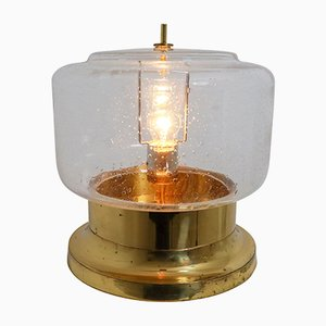 Mid-Century Modernist Hand-Blown Glass and Brass Table Lamp